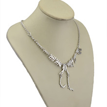 2015 Fashion Jewelry Gothic Tyrannosaurus Rex Skeleton Dinosaur Pendant Necklace Gold Silver Chain Choker Necklace For