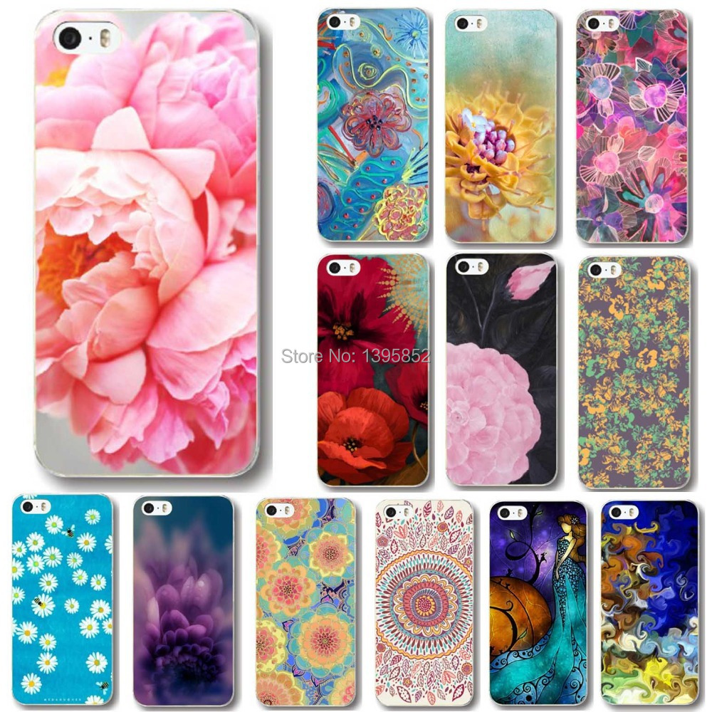 Free shipping New Arrival 20 Styles Flowers Painted Cell Phone Back Cases for iPhone5 5S WHD1016 41-60(China (Mainland))