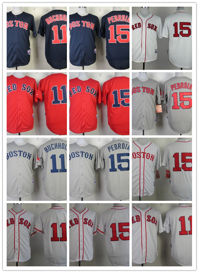 Hot Selling Men's #15 Dustin Pedroia,11 Clay Buchholz blue,red,gray,white jerseys stitched,free shipping Boston Red Sox jerseys(China (Mainland))