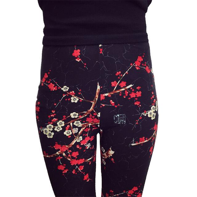 Новый 2016 Распечатать Цветочные Леггинсы Легинсы Плюс Размер Legins Гитара Плед Тонкие Девять Брюки Мода Женская Одежда aptitud Брюки K092