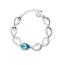 2015 Real New Id Bracelets Women Box-with-tongue Heart Sterling Jewelry Bracelets & Bangles Austria Crystal Bracelet From Tears (China (Mainland))