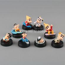 Free Shipping Anime Cartoon Crayon Shin-chan Mini PVC Action Figure Toys Dolls Child Toys Gifts 8pcs/set SCFG006