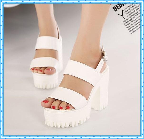 black Sandals Peep Toe Shoes Ankle Strap heels Buckle Thick High Heels white Platform Sandals Women Shoes Summer Sandals D66
