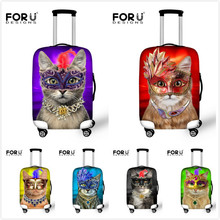 Ealstic Women Cat Print Travel Luggage Cover Waterproof 18-30 inch Suitcase Protective Cover Anti-dust Luggage Accessories(China (Mainland))