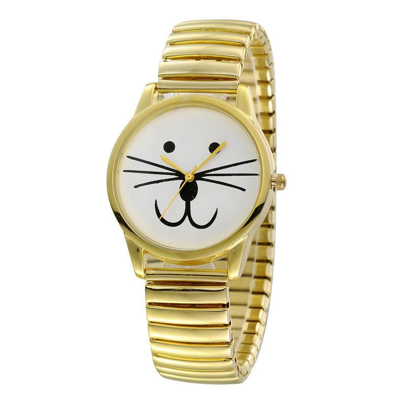 Onfine Leo 2015 Newest Luxury Women Elasticity Cats Face Shrink Bracelet Quartz Wrist Watch(China (Mainland))