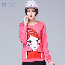 On sale L-5XL 2015 design women pattern print sweatshirt plus size hot pink women pullover tops