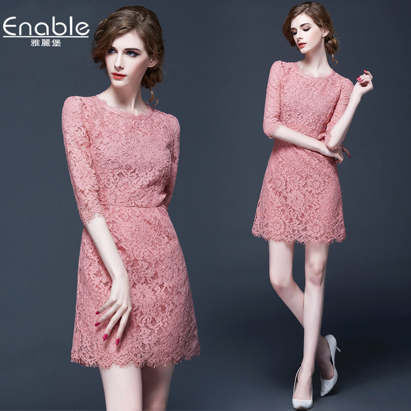 2016 spring summer new European dress 7 sleeve ladies temperament hollow pink lace dress water soluble