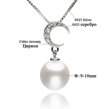 FEIGE Pearl Jewelry Women's 100% 925 Sterling Silver Chain Necklace with 9mm-10mm Round Natural Pearl and Moon-Shape Pendant