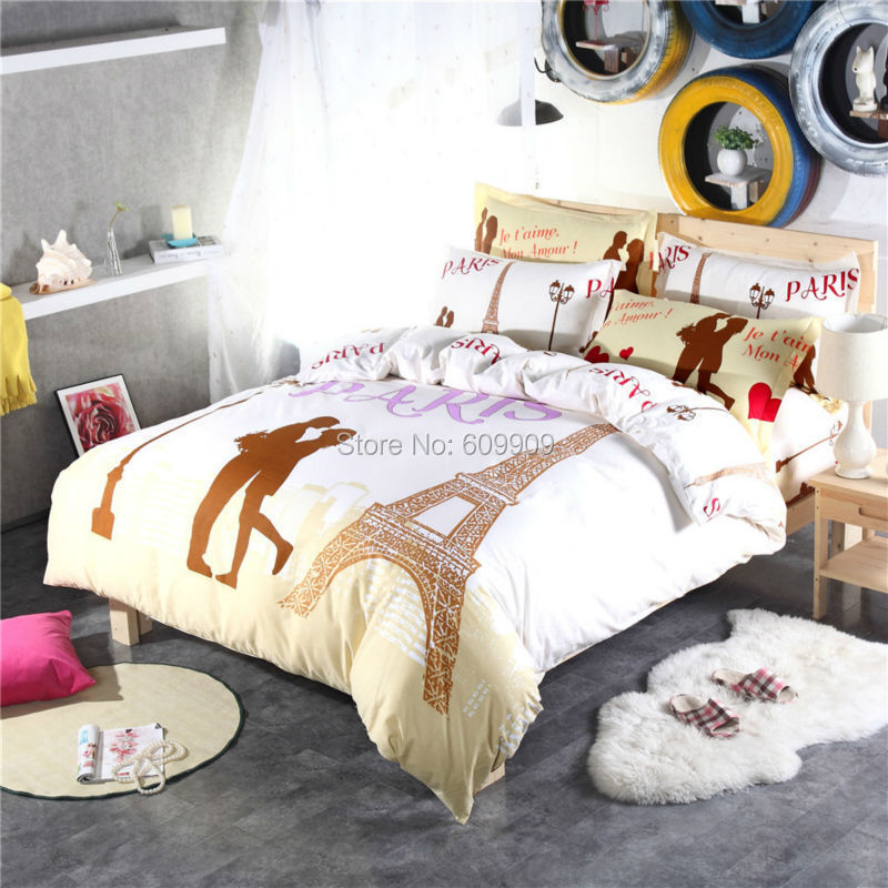 paris eiffel tower bedding for teen girls love and fashion romantic bed sheets duvet cover set. Black Bedroom Furniture Sets. Home Design Ideas