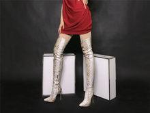 2019 Yeni Gelmesi Yılan Derisi Kadın Uzun Çizmeler Diz Üzerinde Yüksek Ince Topuklu Çizmeler Slip-on Ince Elastik yüksek Çizmeler Parti Seksi Botlar(China)