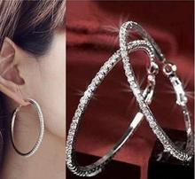 1 Pair Fashion Elegant Round Crystal Beaded Hoop Earrings for Women/Silver Hoop Earrings Party Earrings Women/Fashion Jewelry(China (Mainland))
