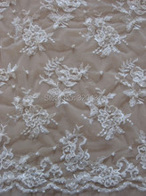 Beaded wedding dress lace fabric ,ivory allover embroidery applique 130cm - Lace/Fabric House-Joyworld Embroidery Industrial Ltd store