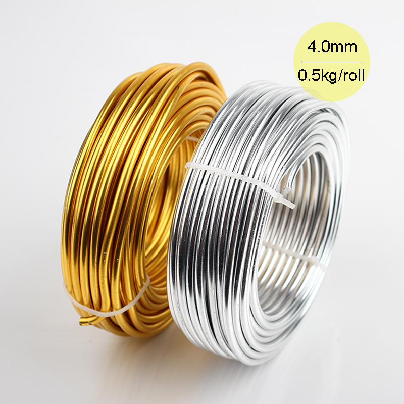 Wholesale 0.5kg Anodized Artistic Aluminum Craft Wire 4.0mm 14m  Gold or Silver Colored Jewelry Soft Metal Wire Permanent Colors<br><br>Aliexpress