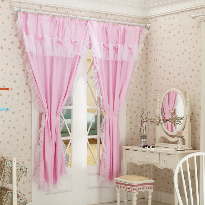 Hot Sale Bedroom Curtains 100 Cotton Pink Window Curtain With White Lace Ruffles And Pink Bows