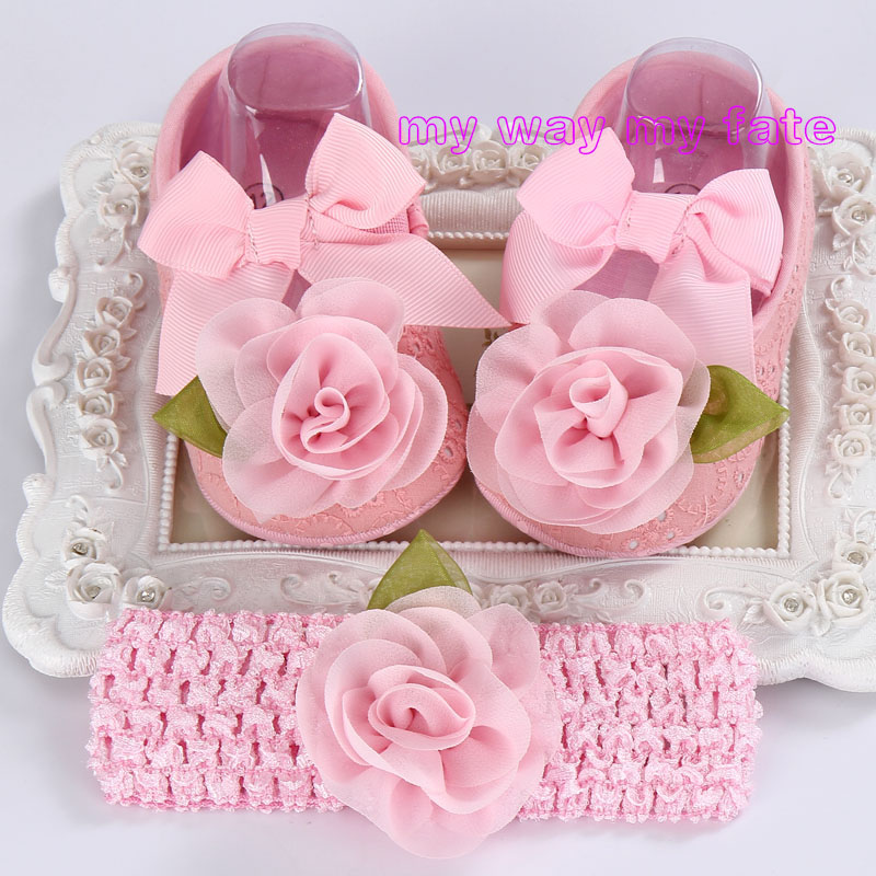 Newborn Baby Girl Shoes Brand,Toddler Infant Fabric Baby Booties Headband Set,Sapato Bebe First Shoe,Shower Gift(China (Mainland))