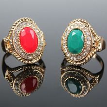 New Trendy CZ Diamond Jewelry White Gold Plated Big Ruby Red Stone Crystal Finger Rings For Women