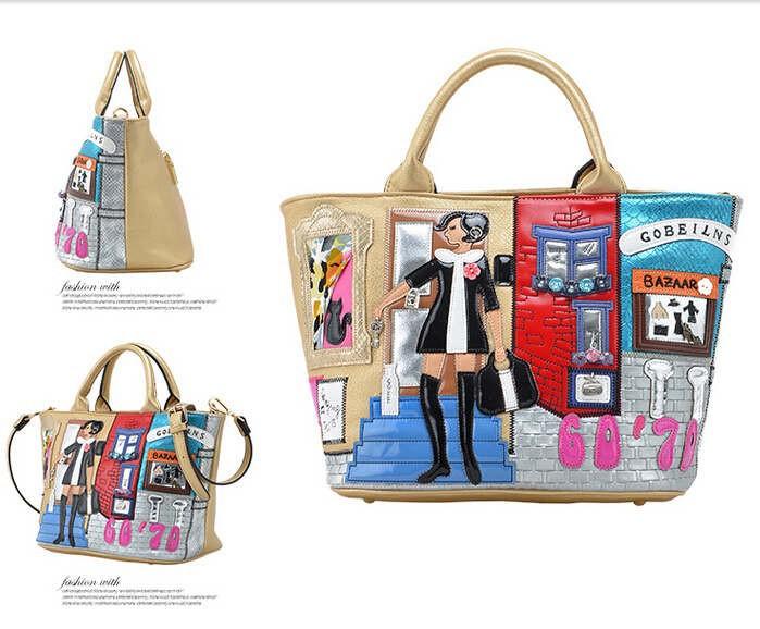 Casual Street New Style Cartoon Printing PU Leather Fashion Lady