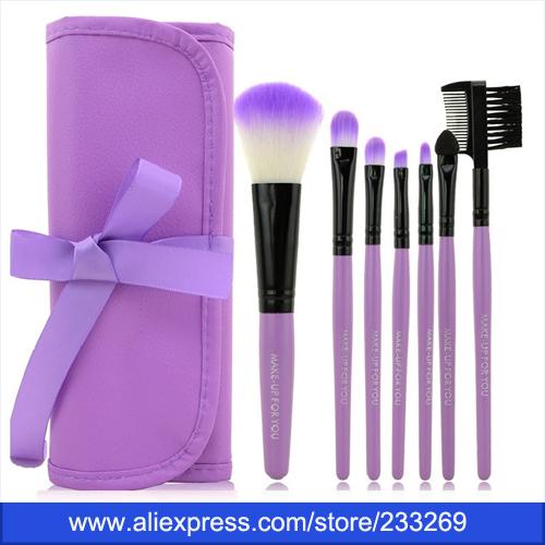 2015 Newest Professional 7 pcs Makeup Brush Set tools Make-up Toiletry Kit Wool Brand Make Up Brush Set Case(China (Mainland))