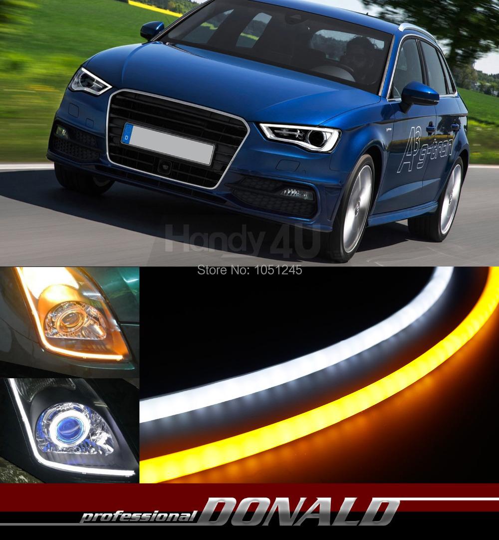 2x A3 A4 A5 A6 Quattro 60cm DRL Flexible LED Tube Strip Style Daytime Running Lights Tear Strip Car Headlight Turn Signal Light(China (Mainland))