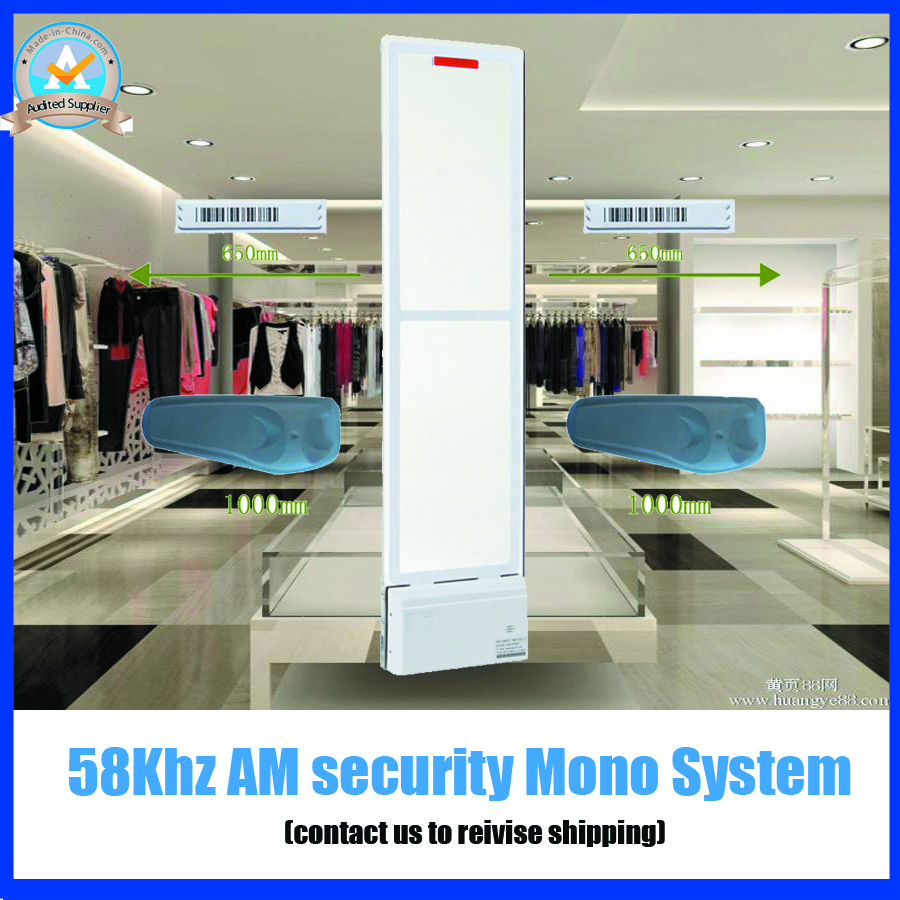 58Khz AM security alarm system for fashion clothing store,Acrylic eas system with sound and LED light alarm ,one door can work(China (Mainland))