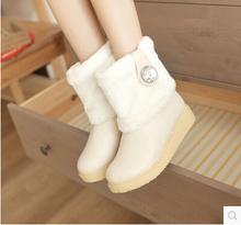 Las mujeres de nueva moda otoño invierno corto rhinestone color sólido 3 cm talón plano botas de nieve suaves zapatos de gran tamaño, más 40-43(China (Mainland))