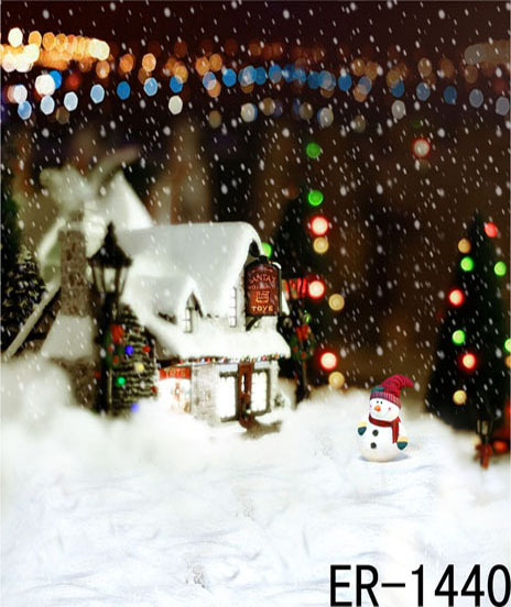 Top Promotion Offer 2015 New Photo Photography Backdrop Christmas Snow House Vinyl Background 10ft x15ft Computer Paint Foldable