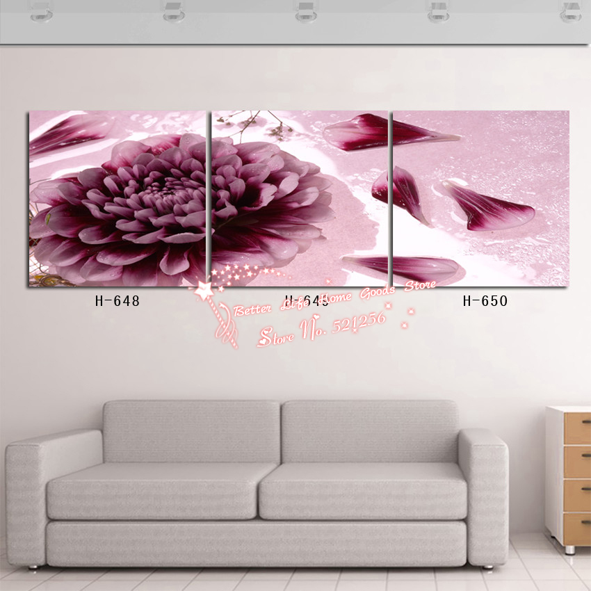 Modern Wall Art Home Decoration Printed Oil Painting Pictures 3 Piece Abstract Large Purple Dahlia Flower Living Room Prints(China (Mainland))