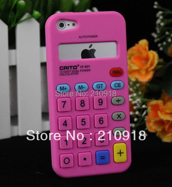 mini order 1 pcs / hot pink/black Calculator Silicone Soft Skin Case Cover For iPhone 5 5TH 5GEN Case, free shipping(China (Mainland))