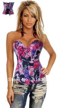 2014 Newest! Vertical Stripes Corset Rose Slim bustiers top Women sexy Plus size Push up Cincher Clubwear