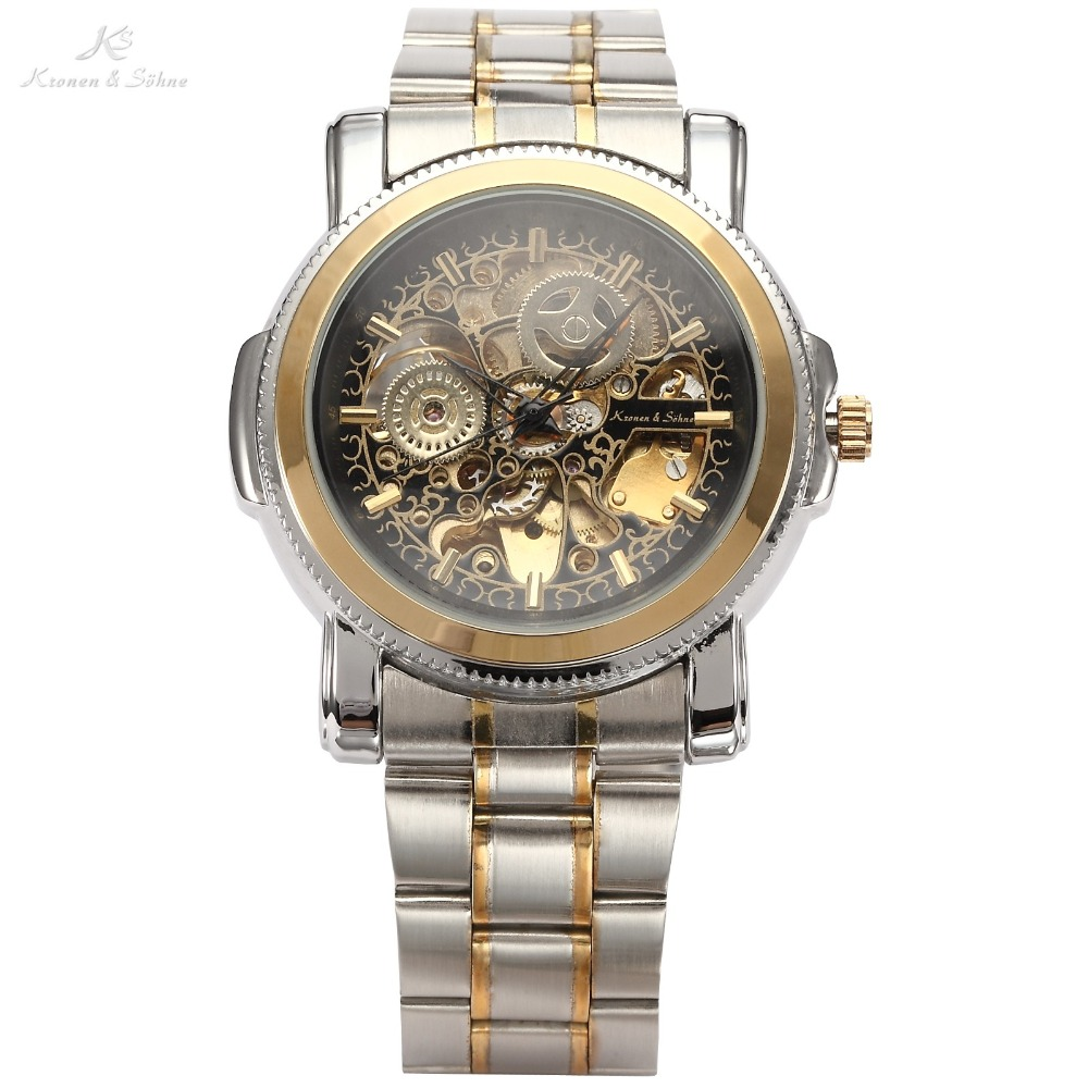 Luxury KS Royal Carving Skeleton Steampunk Automatic Mechanical Golden Stainless Full Steel Dress Business Men's Watch / KS138(China (Mainland))
