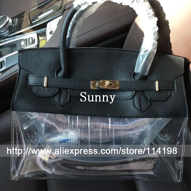 Luxury 100%Genuine leather bag women bag 35cm large bag cute plastic bags clear women leather  handbag  summer beach bag<br><br>Aliexpress