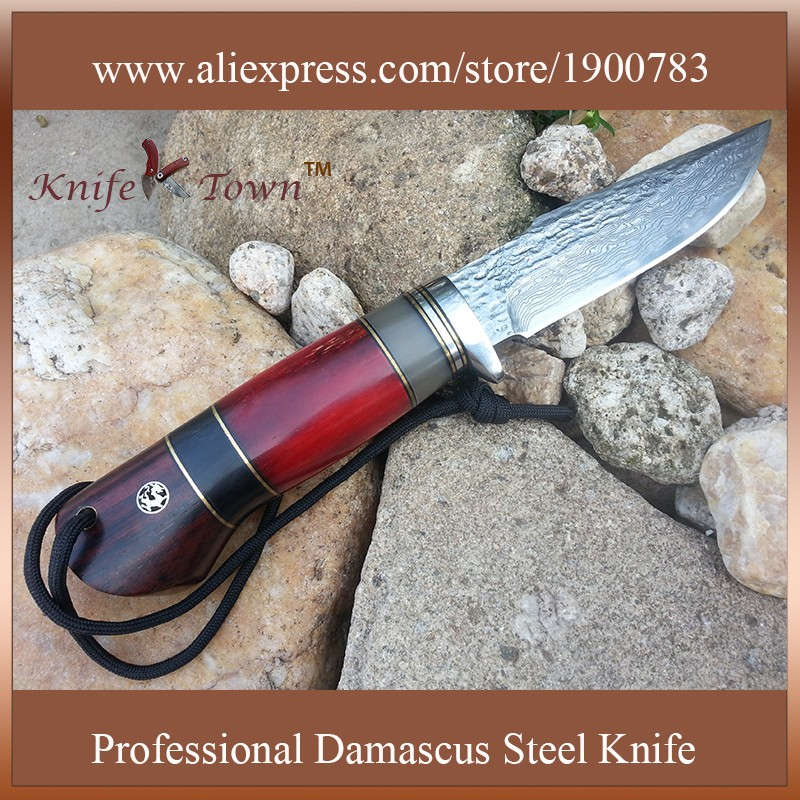 Buy Hunting knife camping knife damascus steel blade fixed blade knife edc knife bayonet army utility straight counter strike DT114 cheap