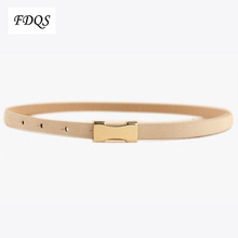 Promotion 2014 Fashion High Quality Metal Buckle Thin Pigskin Leather Women s Belt Female Straps Ladies