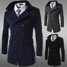 fall and winter clothes 2015 jacket men double-breasted coat male coat lapel long coat winter jacket men free shipping c5y764(China (Mainland))