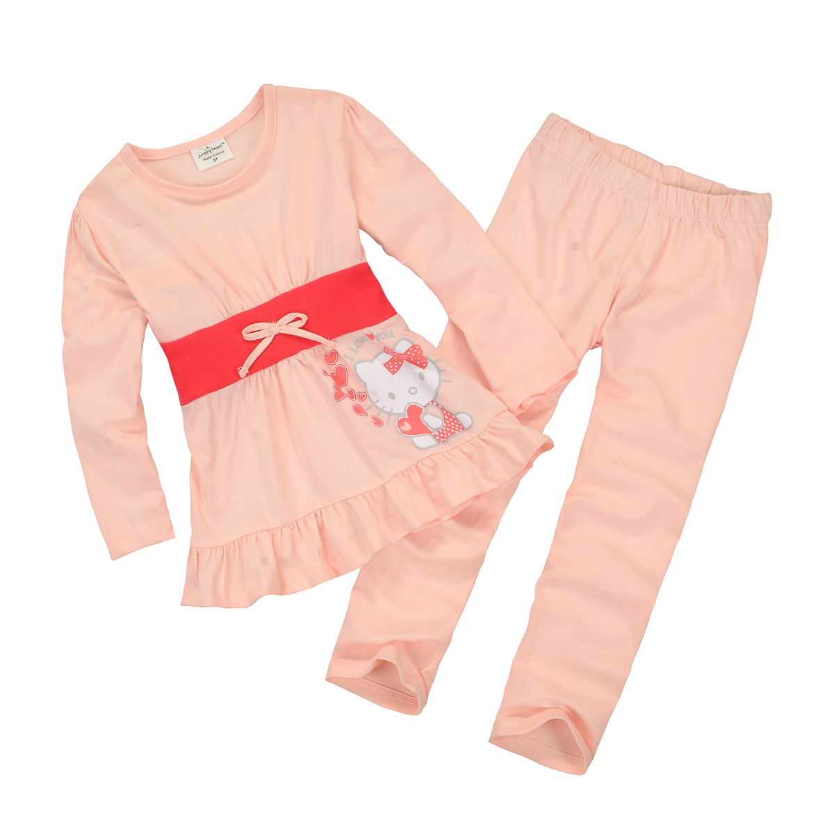 2015 Fashion Girl Leisure Wear Children Homwear Pink Kittys Dress + Pants for Baby Girls 18M-6y Cotton Girls Clothes Set Suits<br><br>Aliexpress