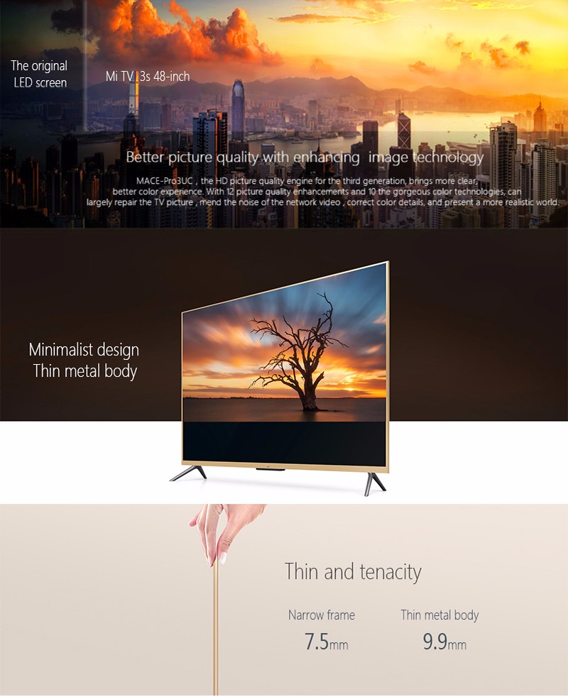 2016 Original xiaomi Smart Mi TV 3S 48″ Inch Mstar 6A908 1920*1080 Full HD Quad Core Ultra thin 2.4/5GHz BT 4.0 48 inch Smart TV
