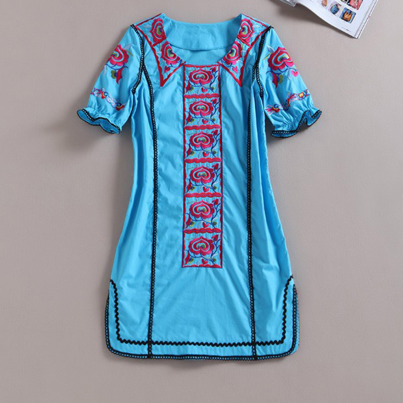 Loose Dresses 2016 New Summer Fashion Brand Dresses Short -Sleeve Luxury Flower Embroidery Blue Straight DressОдежда и ак�е��уары<br><br><br>Aliexpress