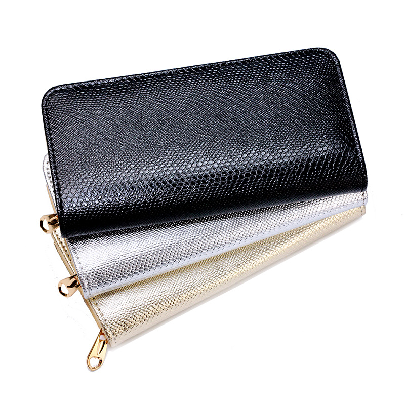 Women Wallets Fashion Solid Female Wallet Women Clutch Change Purses Ladie Long Design Purse Gold Serpentine Evening Mini Bags(China (Mainland))