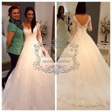 Big Sale Under $100 Cheap Wedding Dress with Long Sleeves Lace Appliques A Line Wedding Gown Real Picture Bridal Dress(China (Mainland))