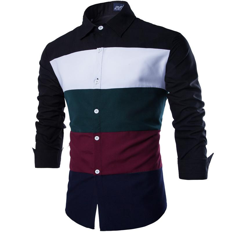 2016 New Autumn Fashion Brand Men Clothes Stripe Stitching Chemise Homme Home-Style Men'S Shirts Casual Long-Sleeved Shirts(China (Mainland))