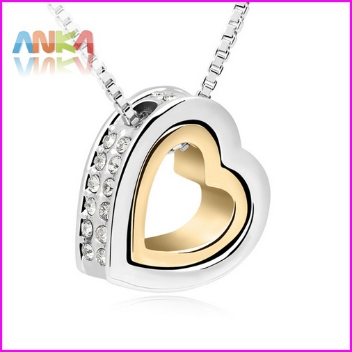 2015 Sale 18K Gold +White Gold Plated Double Heart Crystal Pendant Necklace Made With Swarovski Elements Crystal #99263(China (Mainland))
