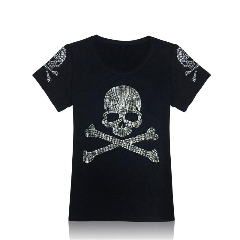 New 2015 Short Sleeve Cotton Diamond Skull T shirt Women Fashion Tops & Tees Blingbling Rhinestone lager size shirts women A2257(China (Mainland))