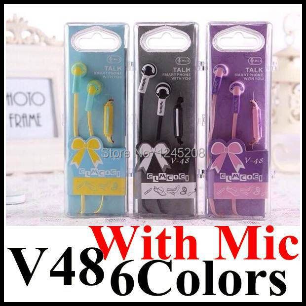 Free Shipping DIY V48 Cute Colorful 3.5 mm Stereo In-Ear headset Earphone headphone with Mic For iPhone MP3 MP4 Player earphones(China (Mainland))