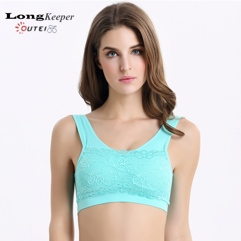 LongKeeper Sexy Lace Bra for Women Sport Yoga Crop Top Bras Shockproof Push-up Gym Fitness Vest Running Seamless Tank Top 135(China (Mainland))