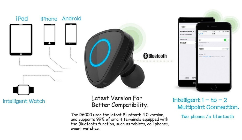 V4.1 Bluetooth Headphones Accesorries with USB Car Charger,Charger Adapter with Mini Wireless Headset Black