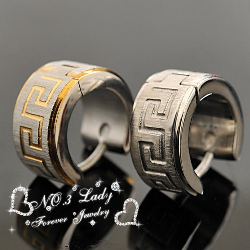 Free shipping, 316l Stainless Steel Greek Key Pattern Mens Earring For Captain Jack, Wholesale buy 10 get 2