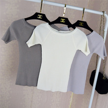 2016 New Summer Short Sleeve Strapless Knitted Tops Female Sweater(China (Mainland))