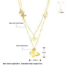 Neoglory 14K Gold Plated Choker Chain Necklaces for Women Butterfly Designer Pendant Fashion Brand Jewelry Gift
