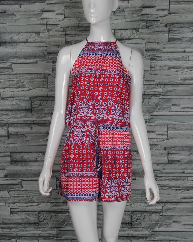 костюмы летние женщина Комбинезоны и комбинезоны Добби богемный экзотических шорты цветок полый обратно Новинка леди, 8058