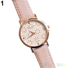 Women's Geneva Faux Leather Band Elegant Flower Casual Analog Quartz Wrist Watch  2MQK